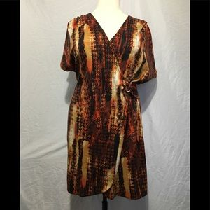 Rust Beige Brown Orange Black & White Dress